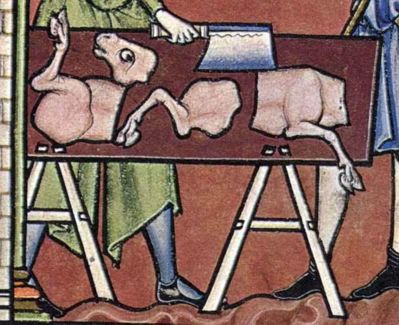 Fleischer bei seiner Arbeit (Kreuzfahrerbibel)