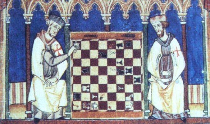Zwei Tempelritter spielen Schach