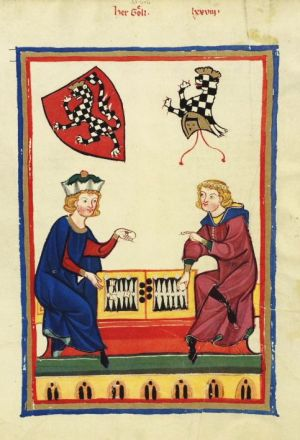 Zwei Herren Spielen eine Backgammon Variante (Wurfzabel)