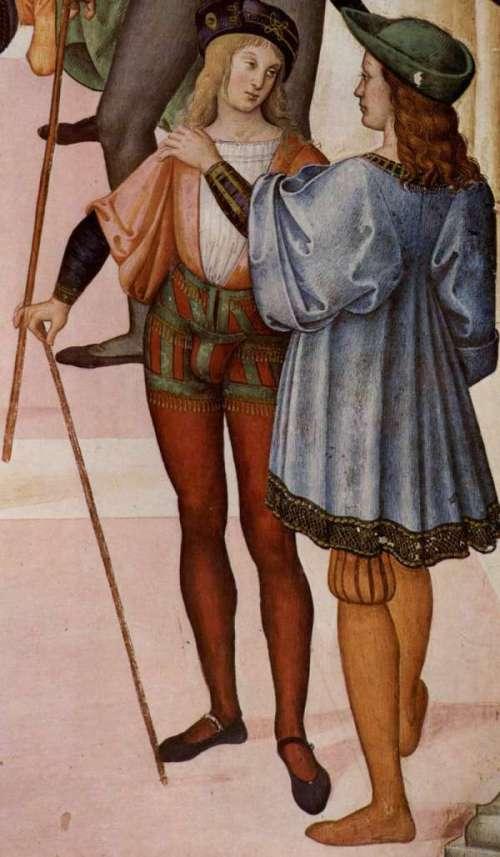 Die Schamkapsel bei der Linken Person ist deutlich sichtbar (Pintoricchio, ca. 1500)