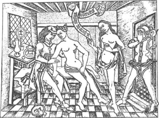 Mittelalterliche Abbildung eines Bordells
