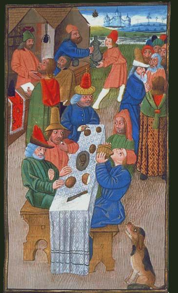 Bauern nehmen eine mittelalterliche Mahlzeit zu sich.