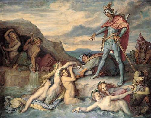 Hagen versenkt den Nibelungenhort im Rhein (Peter von Cornelius, 19. Jahrhundert)