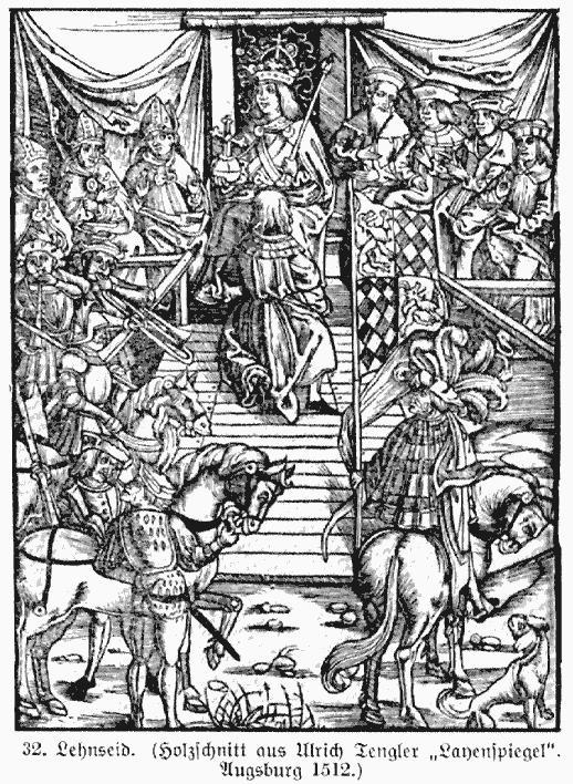 """Lehnseid (Holzschnitt aus Tengler's """"Leihenspiegel"""")"""