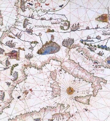 Ausschnitt aus einer Landkarte (Maggiolo 1541)