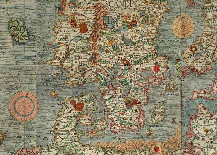 """Ein Ausschnitt der """"Carta Marina"""", der die Nord- und Ostsee zeigt, in denen im Mittelalter reger Handel herrschte."""